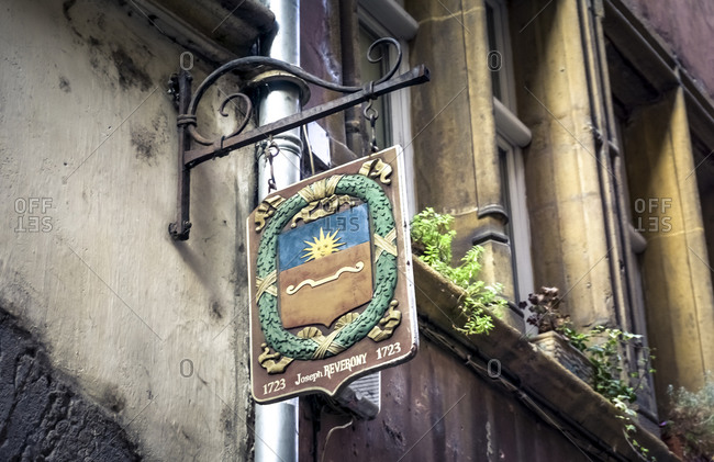 December 6, 2019: Coat of arms of the lay judge Joseph Reverony on Rue Juiverie in the Saint Paul district. Lyon has been a UNESCO World Heritage Site since 1998.