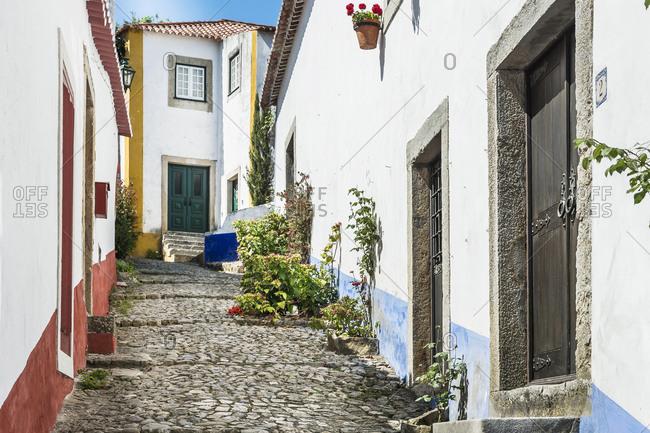 Europe, Portugal, Estremadura, Centro region, Obidos, Vila das Rainhas, City of the Queens, idyllic alley