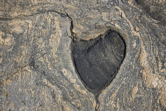 Rock formation in heart shape