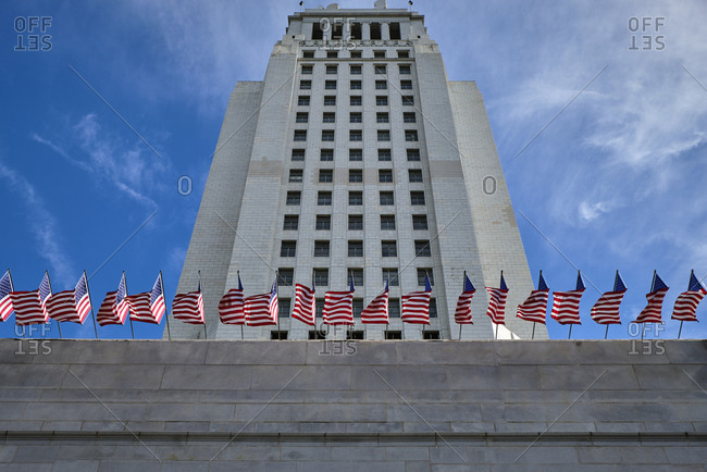 USA, United States of America, California, Los Angeles, Downtown, Chinatown, CBD, Central Business District, Superior Court, Court house, american flags,