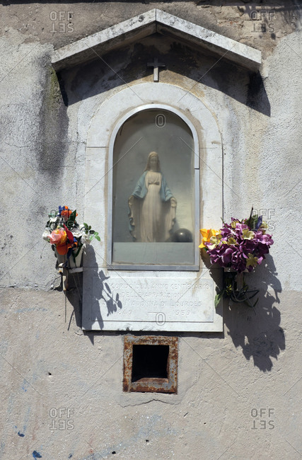 May 25, 2019: Saint figure in the Dorsoduro district in Venice