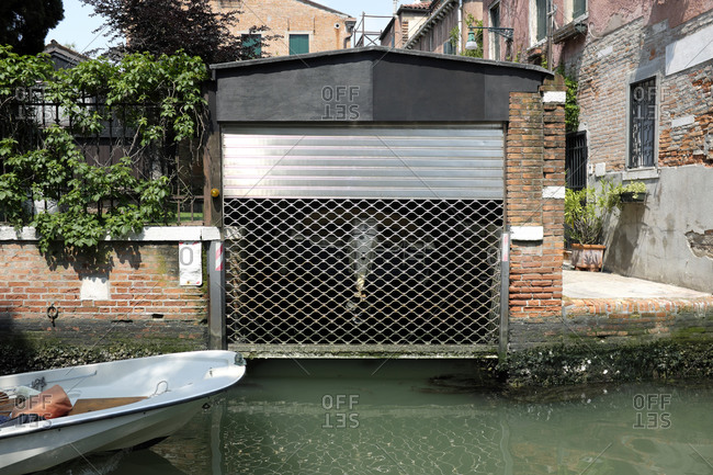 Boat garage in the Dorsoduro district in Venice