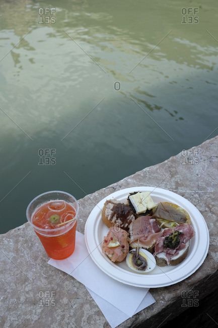 Snack and aperol in the Dorsoduro district in Venice