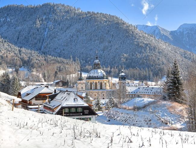 January 20, 2020: Winter landscape with Ettal Abbey, Ammertal, Upper Bavaria, Bavaria, Germany