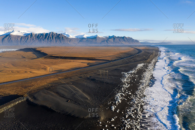 Iceland, Iceland in autumn, view of Diamond Beach