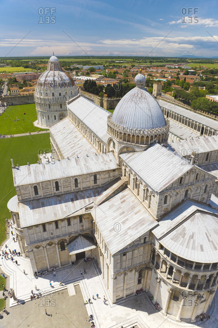 April 21, 2014: Italy, Tuscany, Pisa, Pisa Cathedral, Baptistry, Elevated view
