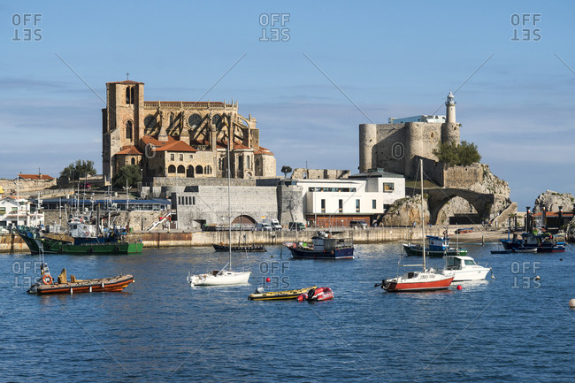 October 5, 2019: Spain, Cantabria, Castro-Urdiales, medieval port city, cathedral and Templar castle