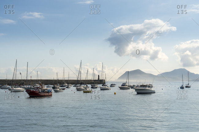 October 5, 2019: Spain, Cantabria, Castro-Urdiales, medieval port city, marina