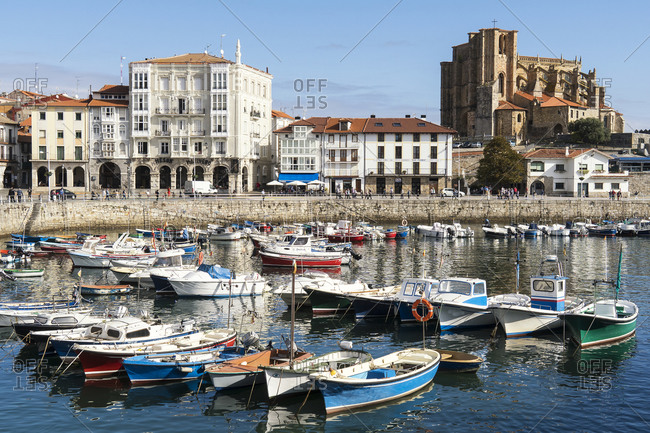 October 5, 2019: Spain, Cantabria, Castro-Urdiales, fishing port