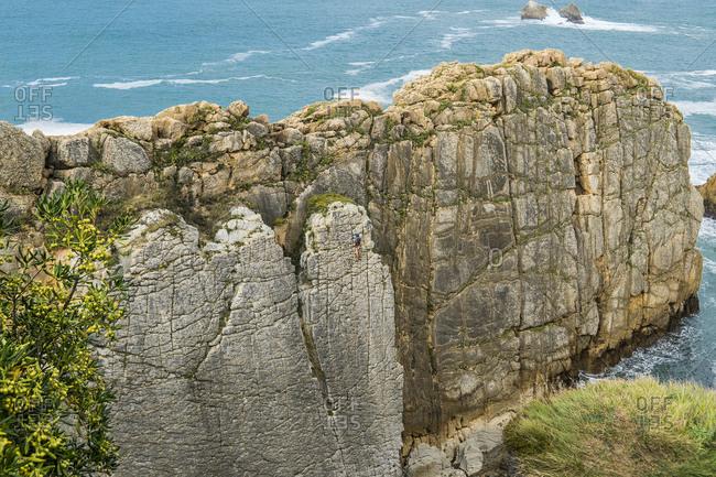 Spain, north coast, Cantabria, Costa Quebrada, geopark, climber, search picture