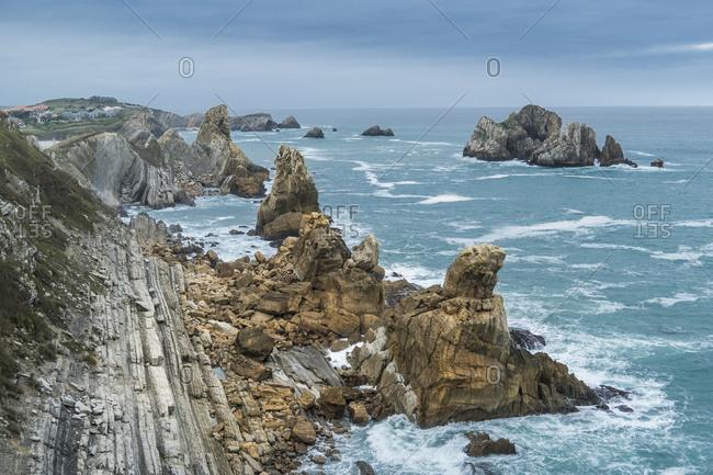 Spain, north coast, Cantabria, Costa Quebrada, Geopark, stormy mood