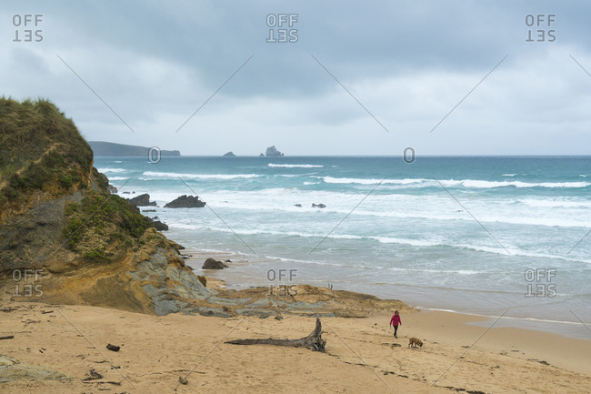 Spain, north coast, Cantabria, Canallave, woman with dog