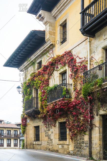 October 6, 2019: Spain, north coast, Cantabria, Comillas, Calle de Antonio Lopez, house, wine-covered