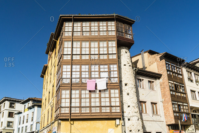 October 8, 2019: Spain, Asturias, Llanes, historic old town