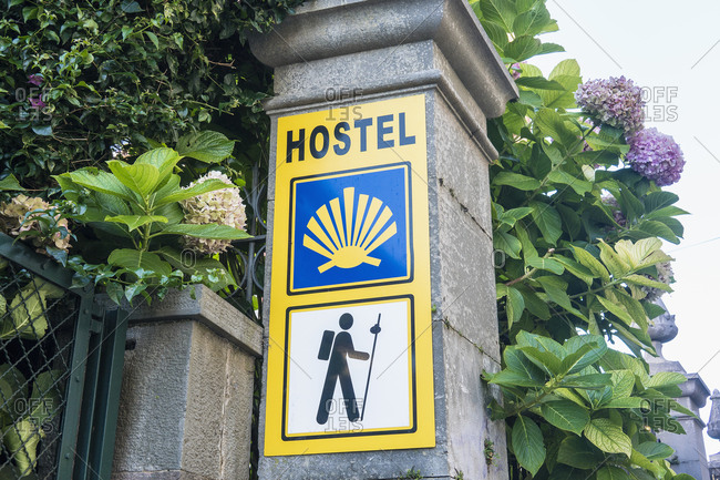 Spain, Asturias, Llanes, Jacobsweg, hostel, sign