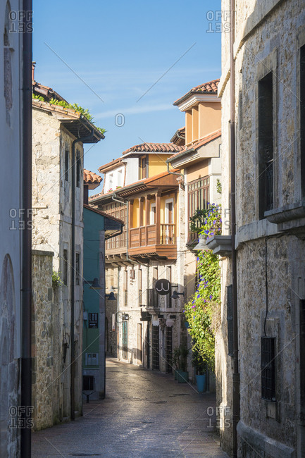 October 8, 2019: Spain, Asturias, Llanes, historic old town, alley