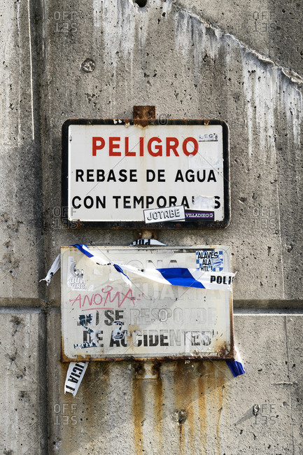 October 8, 2019: Spain, Asturias, Llanes, port, warning signs