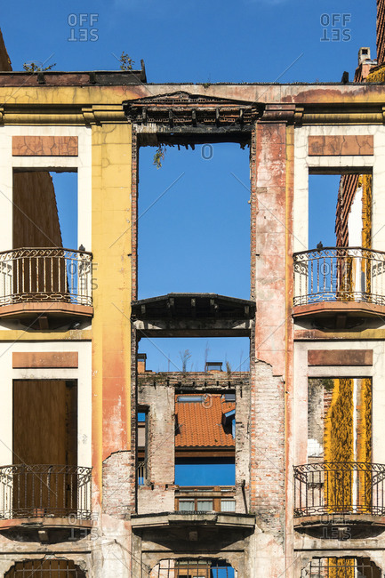Spain, north coast, Asturias, Ribadesella, old town, Plaza Reina Maria Cristina, dilapidated facade