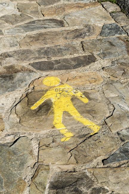 Spain, north coast, Asturias, Lastres, footpath, symbol, pedestrian