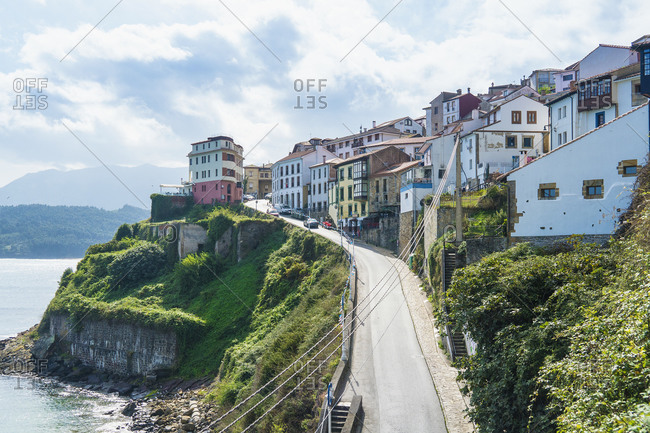 Spain, north coast, Asturias, Lastres, picturesque fishing village on a slope