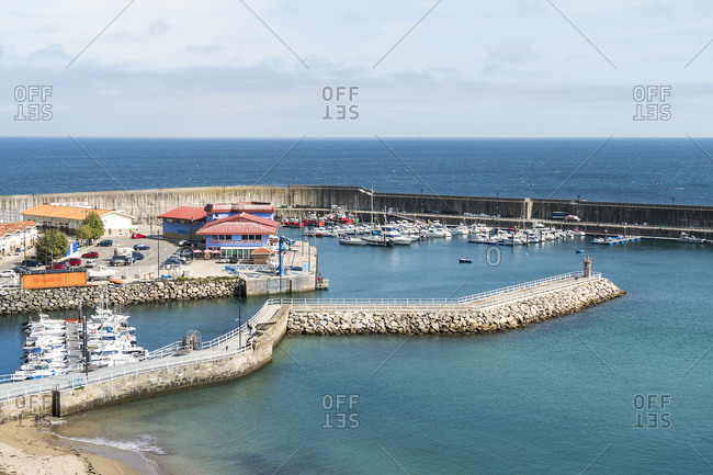 October 8, 2019: Spain, north coast, Asturias, Lastres, picturesque fishing village, harbor