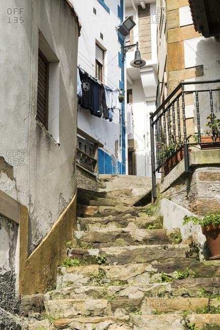 Spain, north coast, Asturias, Lastres, picturesque fishing village, stone stairs