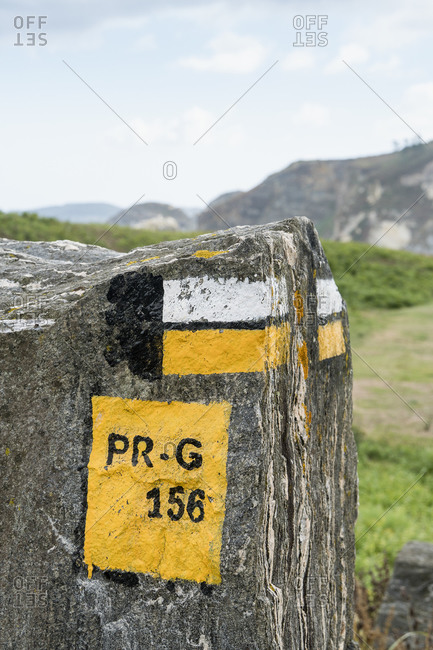 Spain, north coast, Galicia, beach, hiking trail, marking
