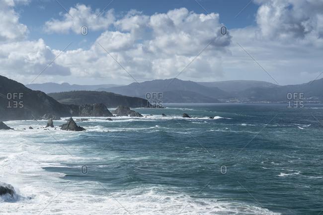 """Spain, north coast, Galicia, Acantilados de Loiba, """"El banco Mas bonito del mundo"""" (most beautiful bank in the world)"""