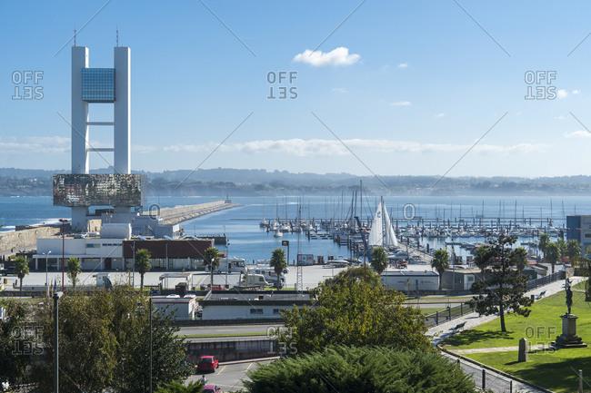 October 10, 2019: Spain, north coast, Galicia, A Coruna, La Coruna, port