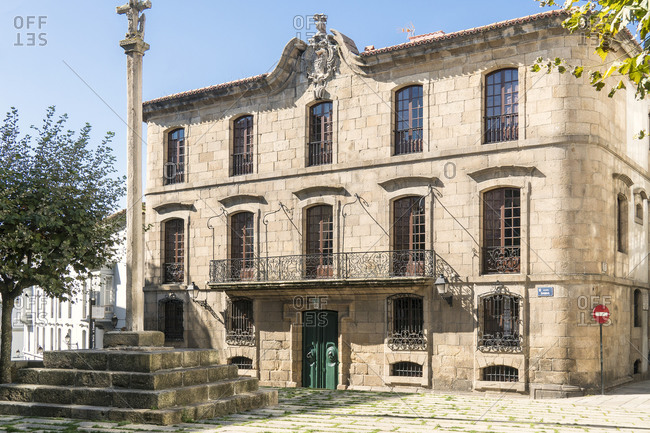 October 10, 2019: Spain, north coast, Galicia, A Coruna, La Coruna, historic old town, Plaza Santa Maria de Campo