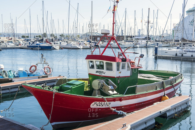 October 10, 2019: Spain, north coast, Galicia, A Coruna, La Coruna, harbor, fishing boat