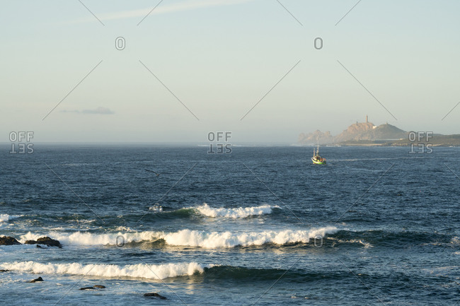 Spain, north coast, Galicia, Costa da Morte, Muxia, fishing boat