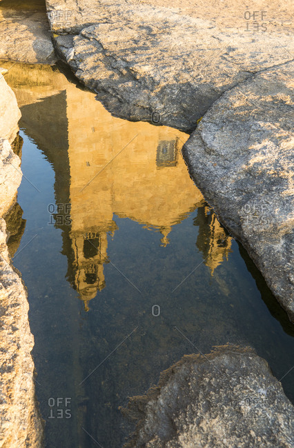 Spain, north coast, Galicia, Muxia, place of pilgrimage, Santuario da Virxe da Barca, reflection