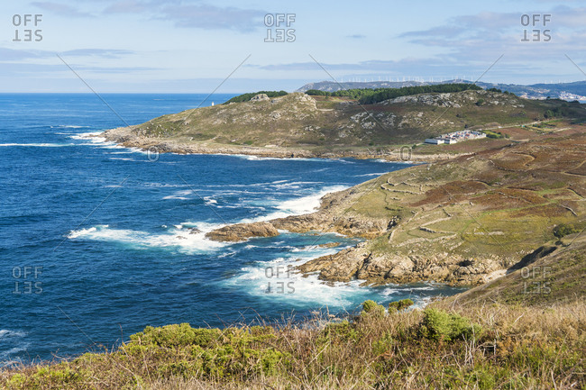 Spain, north coast, Galicia, Costa da Morte, Praia dos Cristais, rocky coast