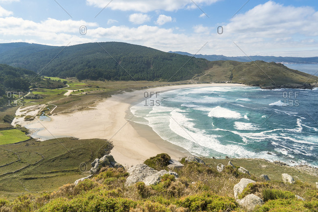 Spain, north coast, Galicia, Costa da Morte, Praia de Soesto from above