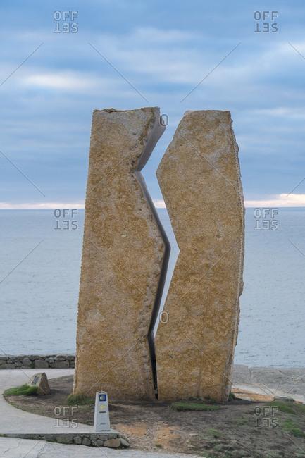 October 11, 2019: Spain, Galicia, Costa da Morte, Muxia, Jacobsweg, place of pilgrimage, Mirador Jesus Quintanal, monument