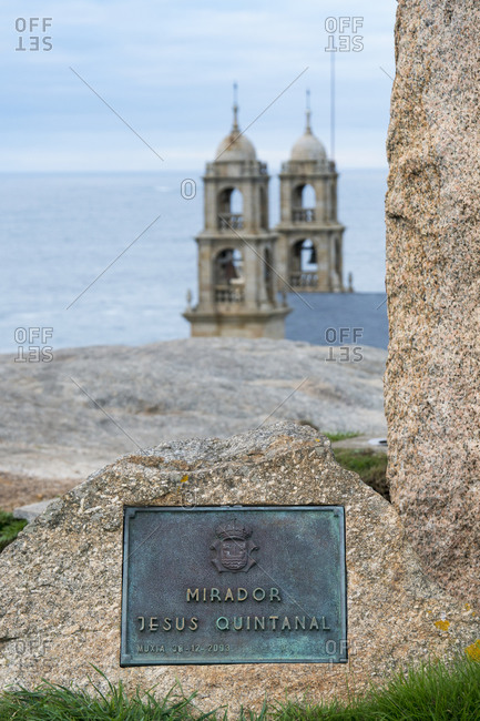 October 11, 2019: Spain, north coast, Galicia, Muxia, place of pilgrimage, Mirador Jesus Quintanal, Santuario da Virxe da Barca