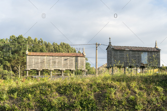 Spain, north coast, Galicia, Jacobsweg, Horreos, traditional storage buildings