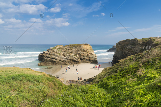 Spain, north coast, Galicia, national park, cathedral beach, Praia as Catedrais, Playa de las Catedrales, natural monument, tourists