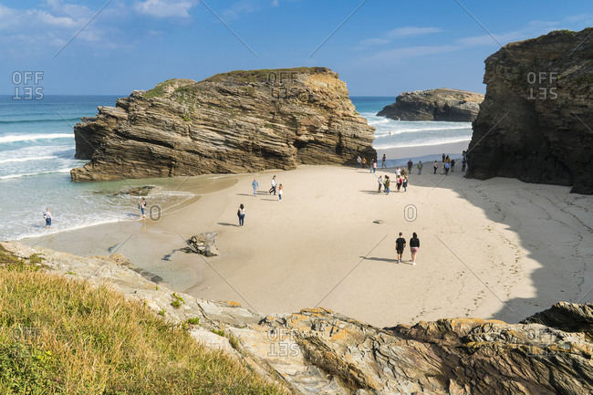 October 12, 2019: Spain, north coast, Galicia, national park, cathedral beach, Praia as Catedrais, Playa de las Catedrales, natural monument, tourists