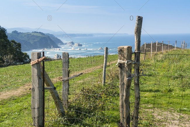 Spain, north coast, Asturias, coast, Jacobsweg, pasture fence