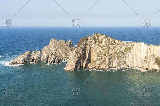 October 12, 2019: Spain, north coast, Asturias, coast, rocks