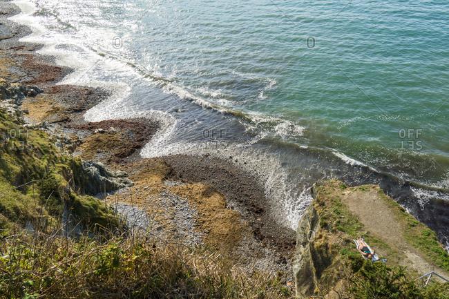 Spain, north coast, Asturias, coastline, rocks, Playa del Silencio, pebble beach, serrated shape