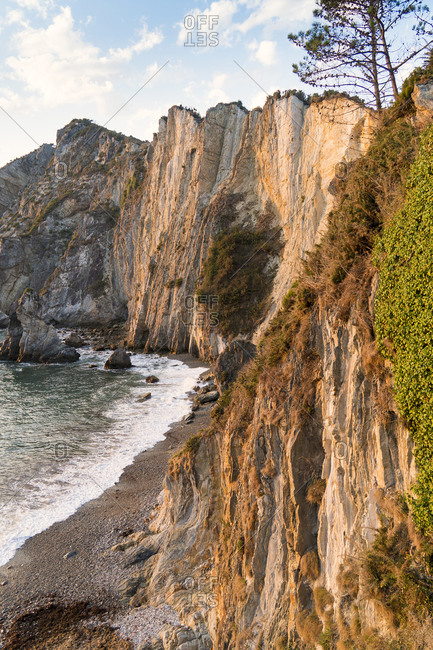 Spain, north coast, Asturias, coastline, rocks, Playa del Silencio, hiking trail, evening light