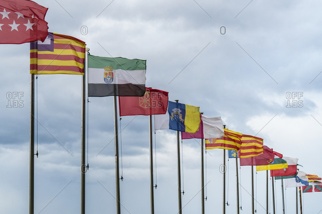Spain, north coast, Asturias, Jacobsweg, Camino de la Costa, Cudillero, flags in the wind