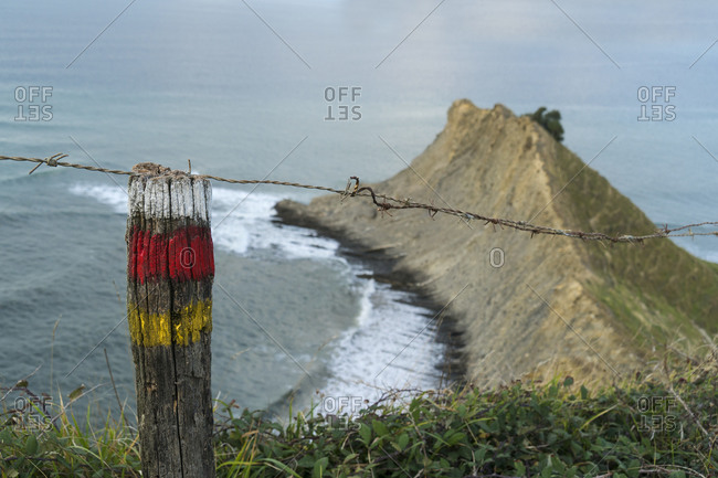 Spain, north coast, Basque Country, flysch route, hiking trail, marking
