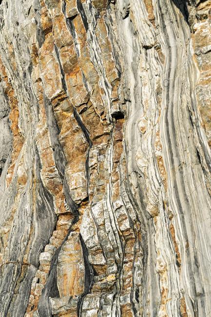 Spain, north coast, Asturias, coastline, rocks, Playa del Silencio, striking rock strata