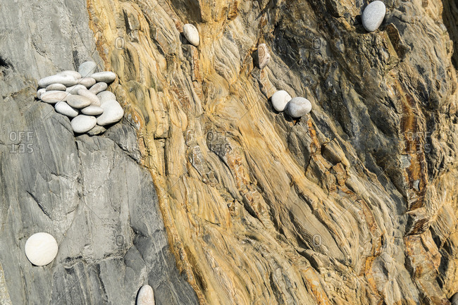 Spain, north coast, Asturias, coastline, rocks, Playa del Silencio, striking rock strata
