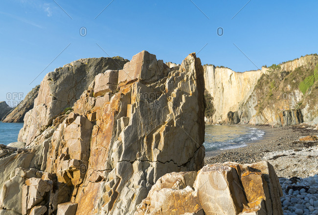 Spain, north coast, Asturias, coastline, rocks, Playa del Silencio, hiking trail