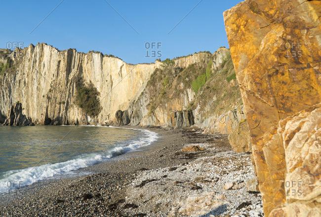 Spain, north coast, Asturias, coastline, rocks, Playa del Silencio, hiking trail